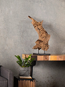 Teak Wood Sculpture on Marble Stand