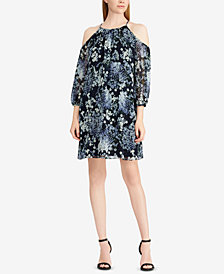 American Living Floral-Print Georgette Cold-Shoulder Dress