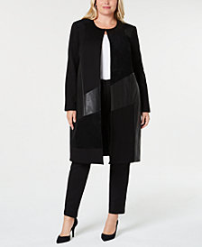 Calvin Klein Plus Size Mixed-Media Jacket