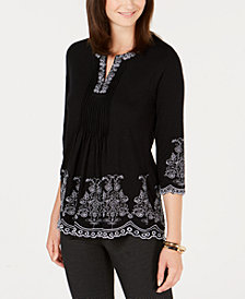 Charter Club Petite Embroidered Split-Neck Cotton Peasant Top, Created for Macy's