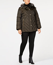 London Fog Plus Size Faux-Fur-Trim Puffer Coat