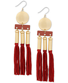 Lucky Brand Gold-Tone Bead & Tassel Statement Earrings