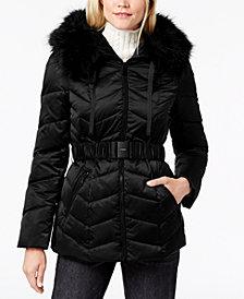 T Tahari Faux-Fur-Trim Belted Puffer Coat