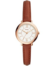 Women's Mini Jacqueline Terracotta Leather Strap Watch 27mm