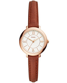 Fossil Women's Mini Jacqueline Terracotta Leather Strap Watch 27mm