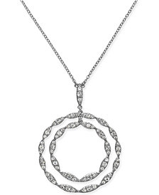 "I.N.C. Silver-Tone Crystal Double Circle Pendant Necklace, 29"" + 3"" extender, Created for Macy's"