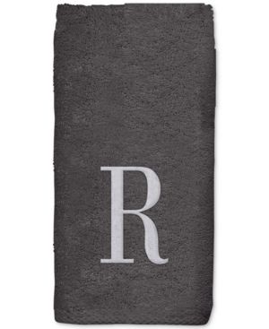 Avanti Monogram Black Embroidered Fingertip Towel Bedding 6733244