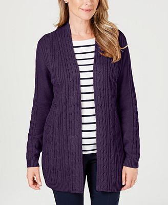 Karen Scott Cable Knit Open Front Cardigan Created For Macys