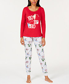 Matching Family Pajamas Women's Surfing Santa Pajama Set, Created for Macy's