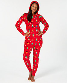 Matching Family Pajamas Women's Elf Hooded One-Piece, Created For Macy's