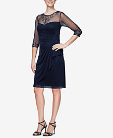 Alex Evenings Petite Ruched Embellished Illusion Dress
