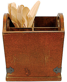 Square Wood & Metal Utensil Holder