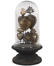Tin Sacred Hearts on Wood Pedestal with Glass Cloche