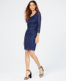 Sequin Hearts Juniors' Open-Back Lace Bodycon Dress