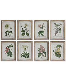 Framed Botanical Motif Wall Plaques, Set of 8