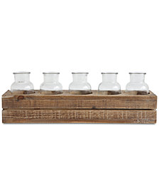 6-Pc. Fir Wood Crate with Glass Bottles