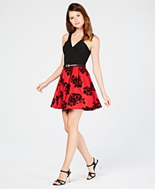 Juniors' Velvet-Print Fit & Flare Dress