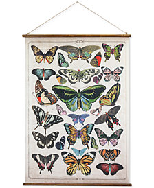 Burlap & Wood Scroll Wall Decor with Butterflies