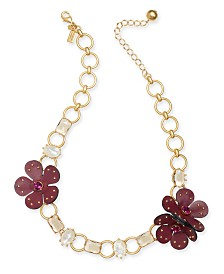 "Kate Spade New York  Gold-Tone Multi-Stone & Imitation Pearl Leather Flower Collar Necklace, 16"" + 2"" extender"