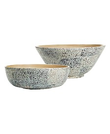 Two's Company Gilded Lacquered Shimmer Bowls, Set of 2