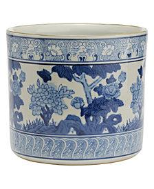 Blue and White Garden Scene Vase, Planter
