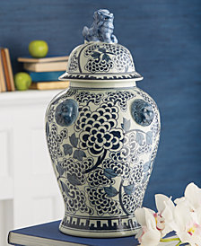 Blue and White Peony Flower Covered Temple Jar with Lion Accents
