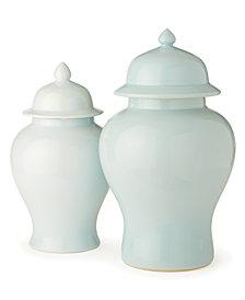 Aquamarine Set of 2 Covered Temple Jars