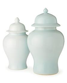 Aquamarine Covered Jars, Set of 2