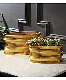 Golden Wave Set of 2 Planters