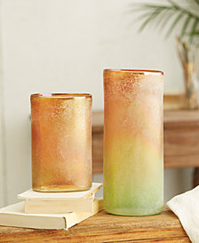 Sedona Set of 2 Orange, Green Oval Cylinder Frosted Vases