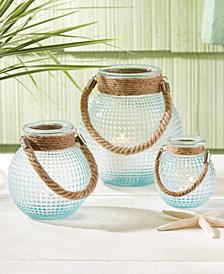 Harborside Set of 3 Hobnail Lanterns with Rope Handles in Blue