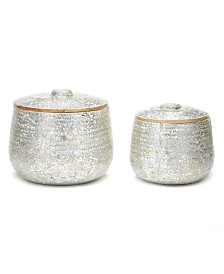 Two's Company Silver Eggshell and Bamboo Lacquered Covered Boxes, Set of 2