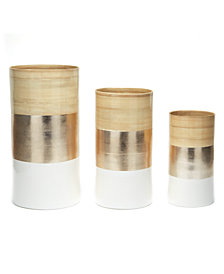 Accents Set of 3 Bamboo, Champagne Metallic and White Decorative Vases
