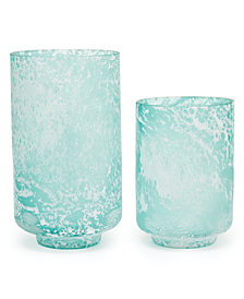 Crests Set of 2 Textured Seafoam Vases