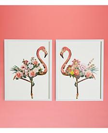 Two's Company Flamingo Wall Art, Set of 2