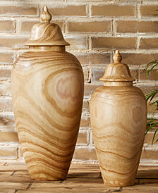 Set of 2 Covered Temple Jars