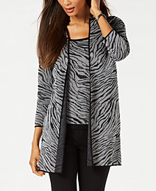 Kasper Zebra-Print Knit Jacket