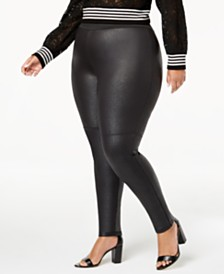 I.N.C. Shaping Plus Size Pebble-Texture Faux-Leather Smoothing Leggings, Created for Macy's