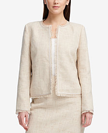 DKNY Collareless Fringed Jacket, Created for Macy's