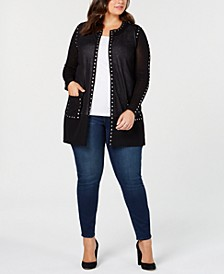 Black Label Plus Size Sheer Studded Long Cardigan