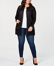 Belldini Black Label Plus Size Sheer Studded Long Cardigan