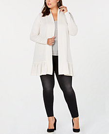 Belldini Plus Size Ruffle-Hem Long Cardigan