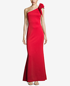 Betsy & Adam Petite Ruffled One-Shoulder Gown