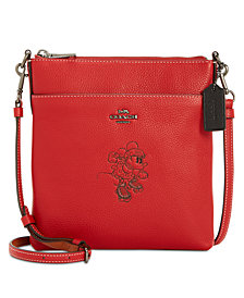 Coach Minnie Motif Messenger Crossbody In Pebble Leather