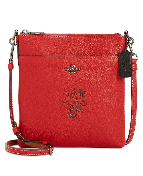 66881abd0aff ... COACH Minnie Motif Messenger Crossbody in Pebble Leather ...