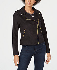 Maison Jules Faux-Suede Moto Jacket, Created for Macy's