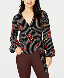 Project 28 NYC Floral Stripe Printed Wrap Blouse