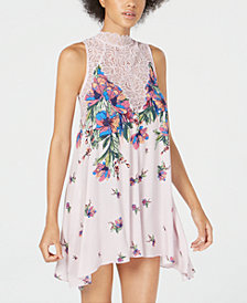 Free People Marsha Printed Lace-Neck Dress