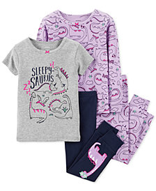 Carter's Toddler Girls 4-Pc. Sleepy-Saurus Snug-Fit Cotton Pajama Set