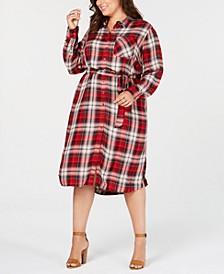 Trendy Plus Size Plaid Shirtdress